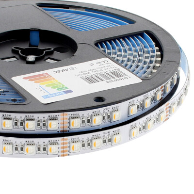 Tira LED EPISTAR SMD5050, RGB+W, DC24V, 5m (84Led/m 4 en 1) - IP20, RGB + Blanco frío