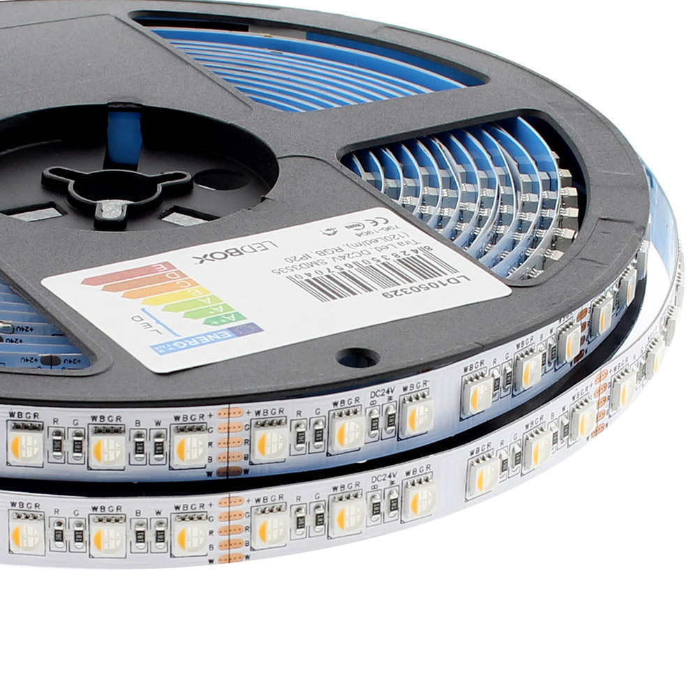 Tira LED EPISTAR SMD5050, RGB+W, DC24V, 5m (84Led/m 4 en 1) - IP20