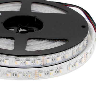Tira LED EPISTAR SMD5050, RGB+W, DC24V, 5m (84Led/m 4 en 1) - IP67, RGB + Blanco frío