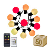 Kit 50 bombillas G40, DC5V, 10m, RGB, IR, Bluetooth, IP65