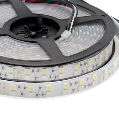 Tira LED EPISTAR SMD5050, RGB+NW, DC24V, 5m (120Led/m) - IP67, RGB + Blanco neutro