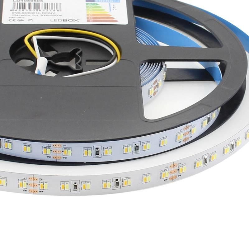 Tira LED Blanco Dual SMD3014, DC24V, 5m (224 Led/m) - IP20