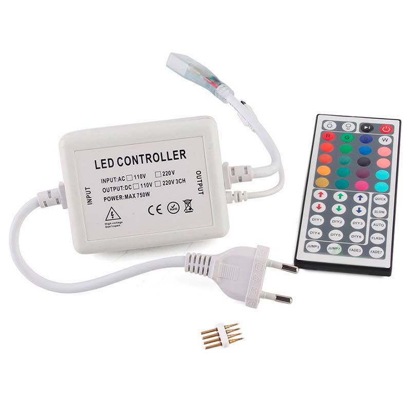 Controlador IR tira led 220V RGB 750W 14mm