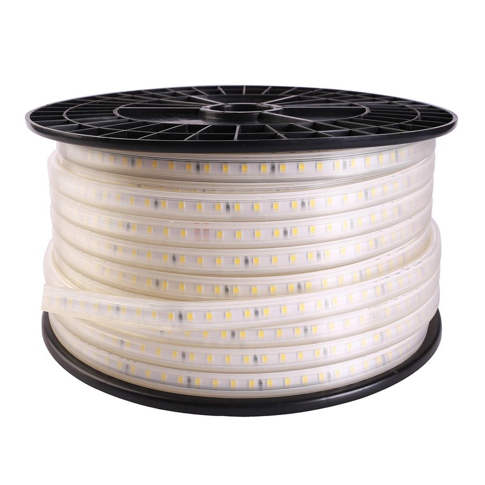 Tira LED 220V SMD2835, 75Led/m, carrete 50 metros con conectores rápidos, 20cm corte, Blanco cálido