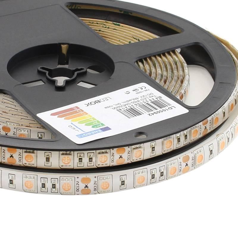 Tira LED SMD5050, DC12V, 5m (60 Led/m), ROSA - IP65
