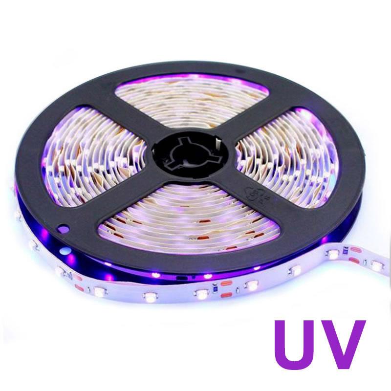 Tira LED UV, Ultravioleta SMD3528, DC12V, 5m (60 Led/m) - IP20