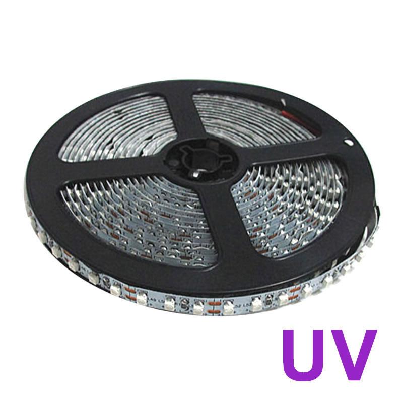 Tira LED UV Ultravioleta SMD3528, DC12V, 5m (120 Led/m) - IP20