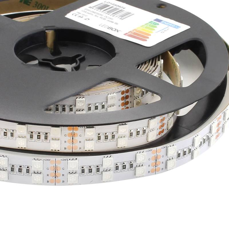 Tira LED EPISTAR SMD5050, RGB, DC24V, 5m (120 Led/m 2 filas) - IP20