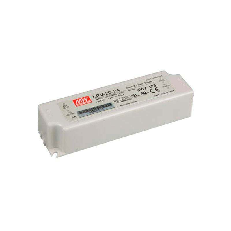 Adaptador de corrente Mean Well LPV-20-24, IP67, DC24V/20W/0.84A