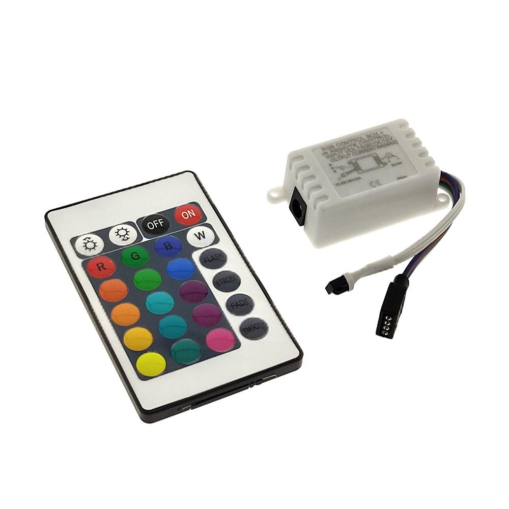 Controlador para tira LED RGB, Dimmer por control remoto IR de 24 botones