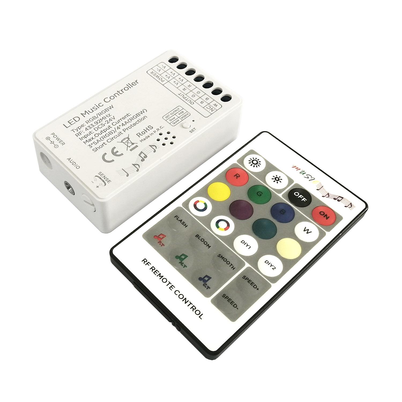 Controlador LED RGBW  MUSIC, 2 en 1, RF 24K