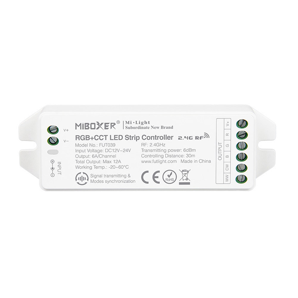 Controlador RGB+CCT - RF 4 zonas 12A