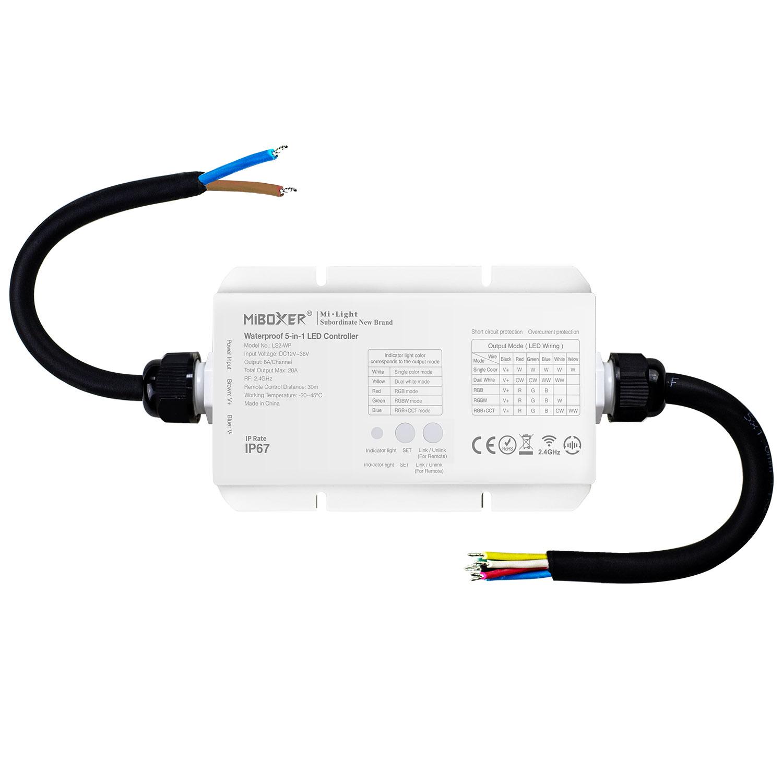 Controlador Waterproof RF, 5 en 1 (MONO, CCT, RGB, RGBW, RGB+CCT)