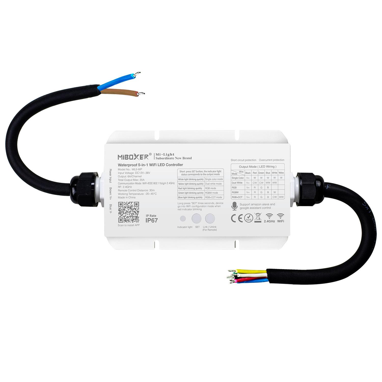 Controlador Waterproof RF, WiFI App, 5 en 1 (MONO, CCT, RGB, RGBW, RGB+CCT)