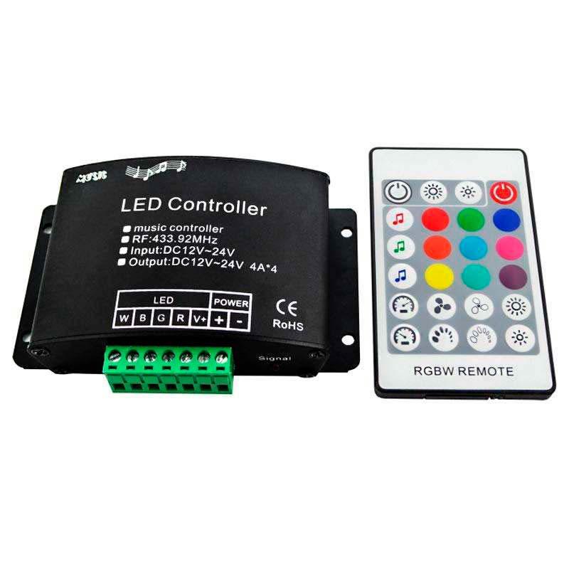 Controlador RGBW + AUDIO RF24K + RF mando a distancia