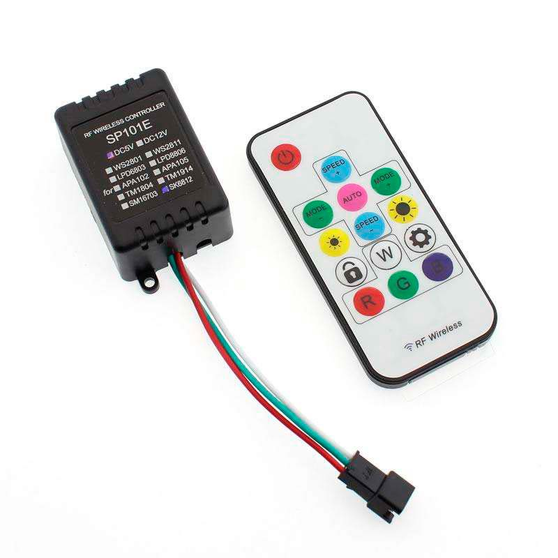 Controlador SP101E RF para tira LED IC Digital + mando