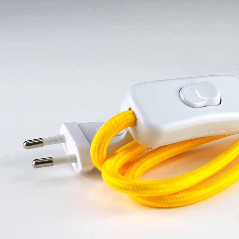 Cable textil con interruptor y enchufe 2x0 75mm 2m - Enchufe y interruptor ...