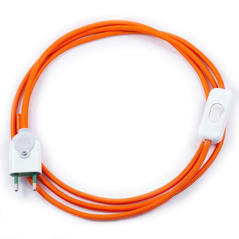 Cable textil con interruptor y enchufe, 2x0,75mm, 2m, naranja