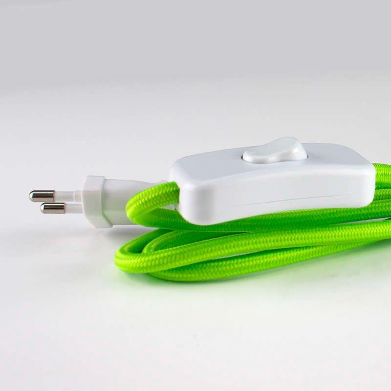 Cable textil con interruptor y enchufe 2x0 75mm 2m - Cable electrico exterior ...