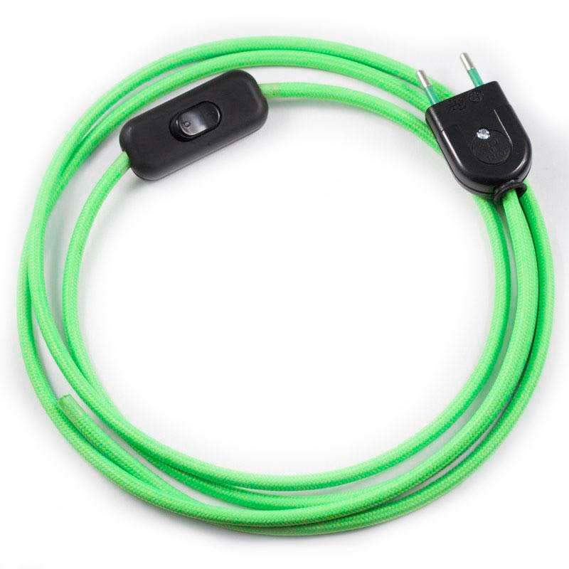Cable textil con interruptor y enchufe, 2x0,75mm, 2m, verde