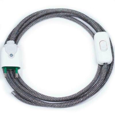 Cable textil con interruptor y enchufe, 2x0,75mm, 2m, negro-blanco