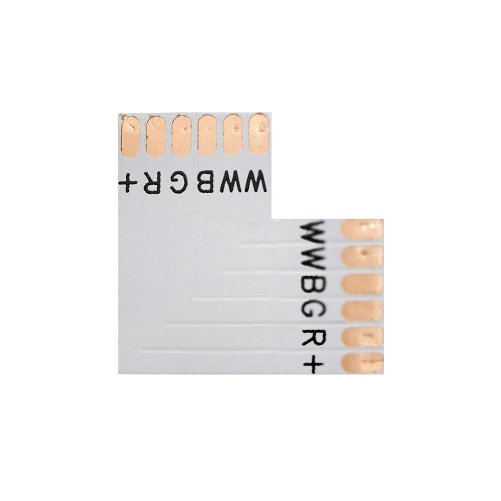 Conector L para tiras RGB+CCT 6 Pin - 12mm