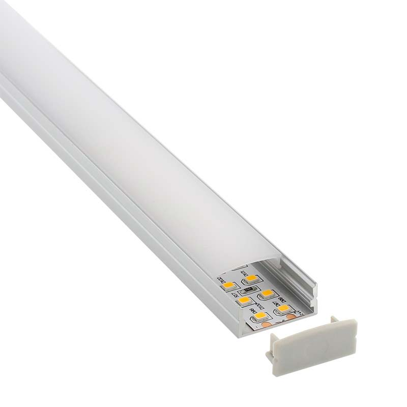 KIT - Perfil aluminio SENSA BIG para tiras LED, 1 metro