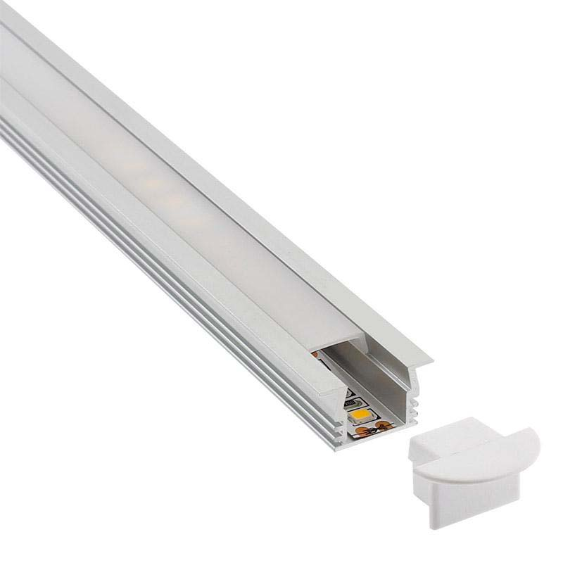 KIT - Perfil aluminio CAMPRO para tiras LED, 2 metros