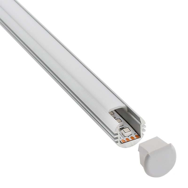 KIT - Perfil aluminio ROUND para tiras LED, 2 metros