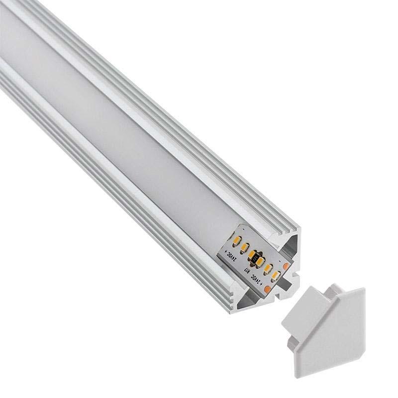 KIT - Perfil aluminio VENCO para tiras LED, 2 metros