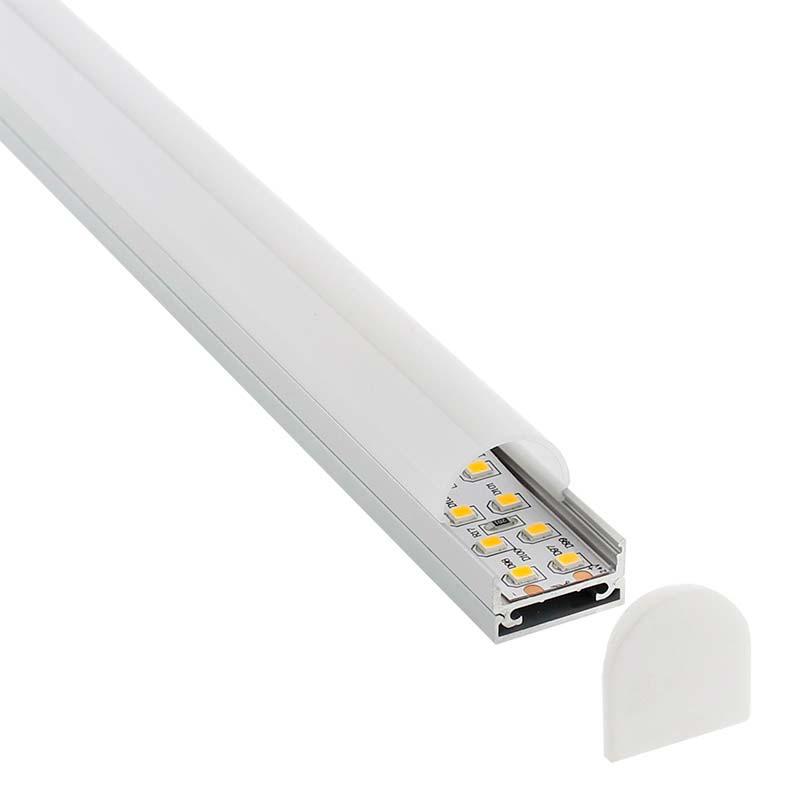 KIT - Perfil aluminio STUV para tiras LED, 2 metros