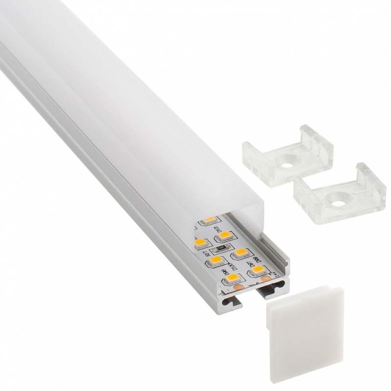 KIT - Perfil aluminio ALKAL SUSPEND para tiras LED, 2 metros