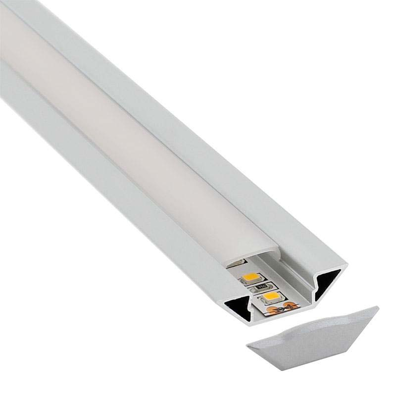 KIT - Perfil aluminio SINGE para tiras LED, 2 metros