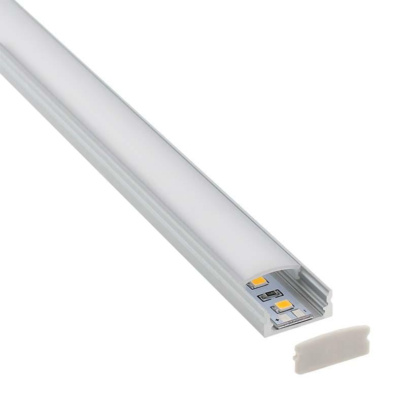 KIT - Perfil aluminio BARLIS para tiras LED, 1 metro
