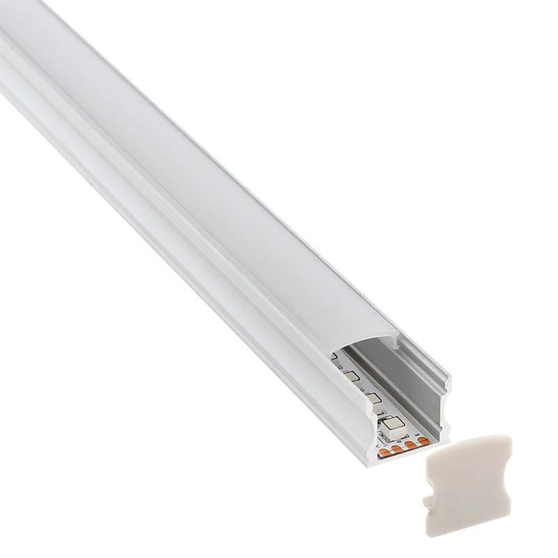 KIT - Perfil aluminio HARFO para tiras LED, 2 metros