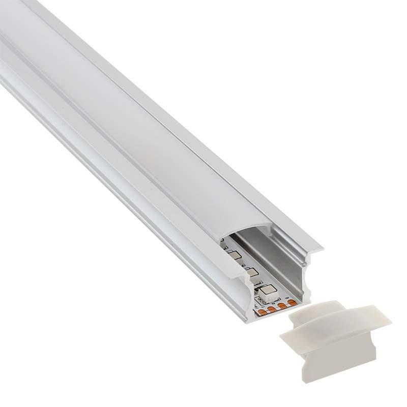 KIT - Perfil aluminio RIDA para tiras LED, 1 metro