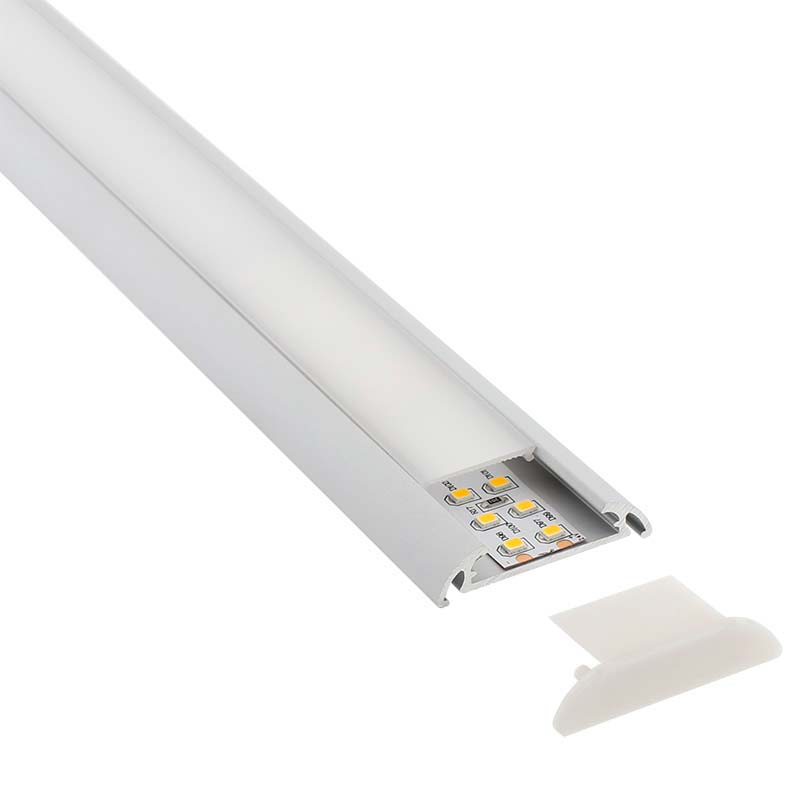 KIT - Perfil aluminio MARK para tiras LED, 1 metro