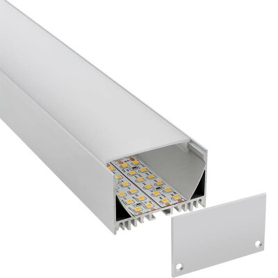KIT - Perfil aluminio ZAK para tiras LED, 2 metros