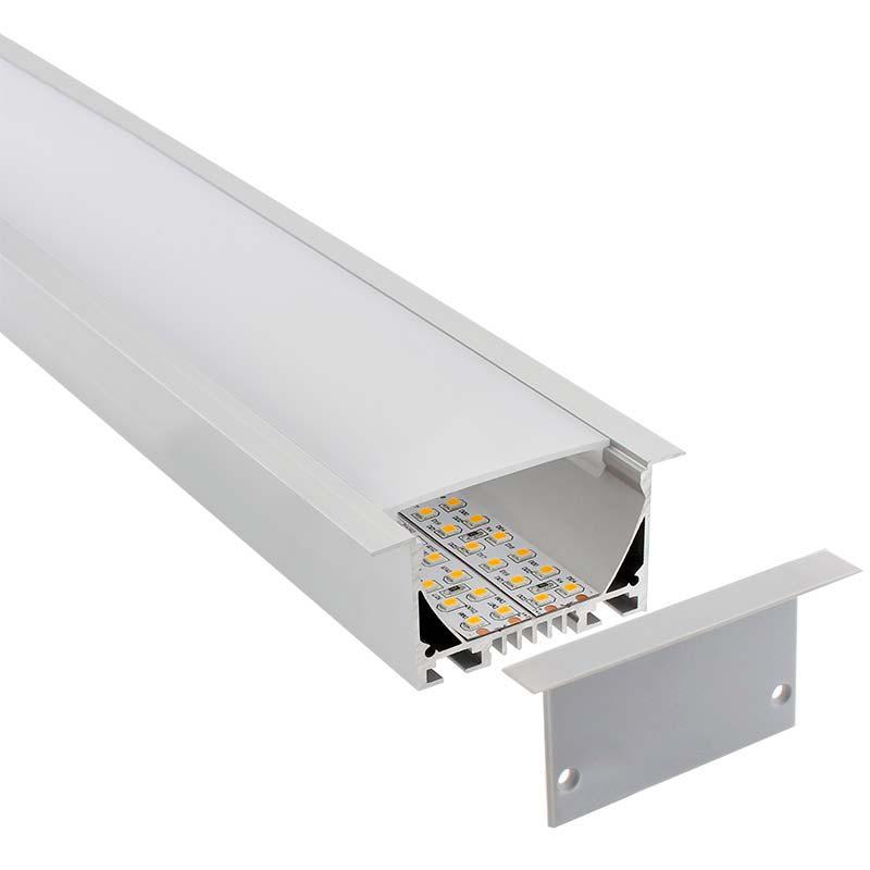 KIT - Perfil aluminio OSIC para tiras LED, 1 metro
