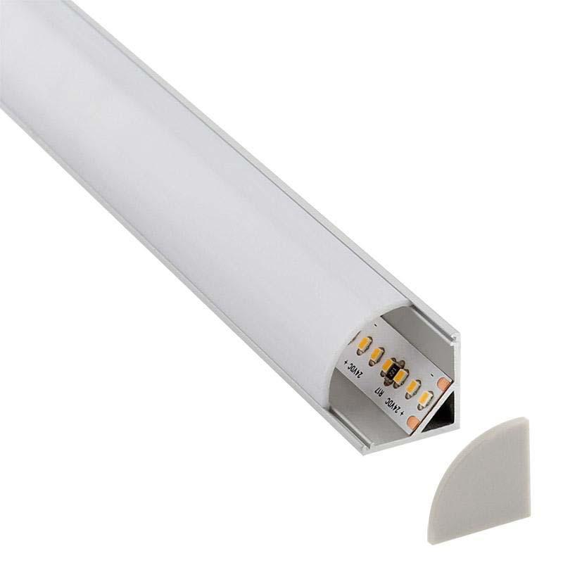 KIT - Perfil aluminio KORK-mini para tiras LED, 2 metros