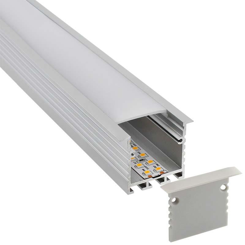 KIT - Perfil aluminio TEITO para fitas LED, 2 metros