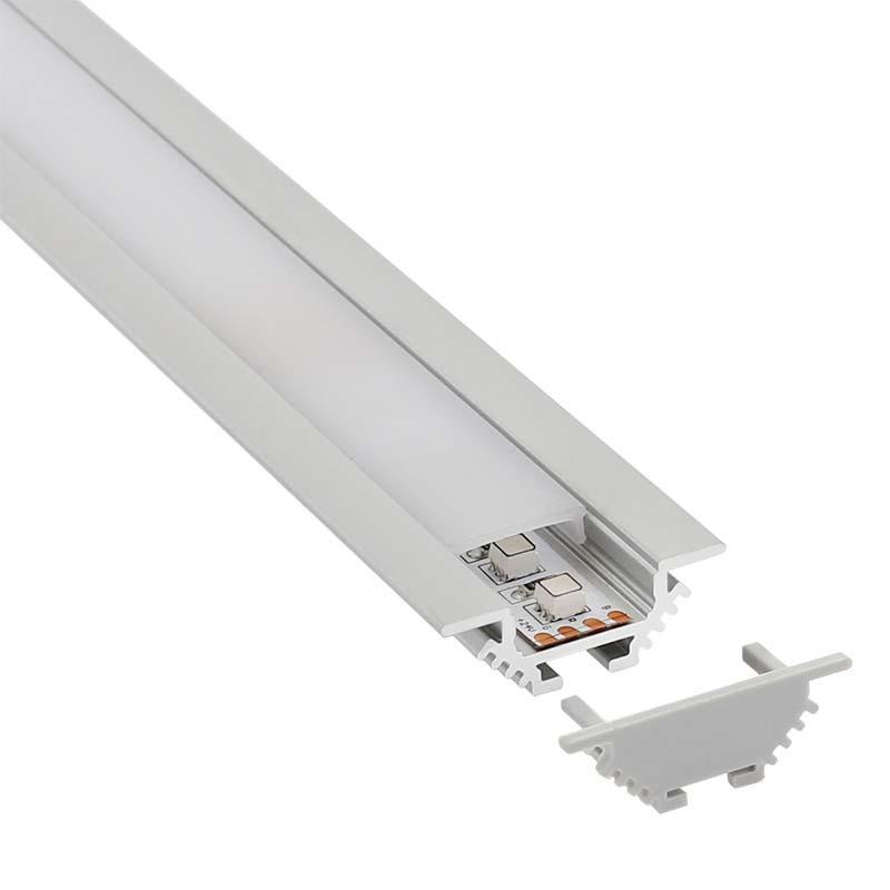 KIT - Perfil aluminio CORNER para tiras LED, 1 metro