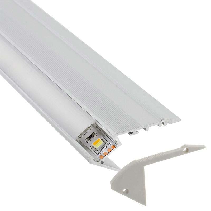 KIT - Perfil aluminio STAIR para tiras LED, 2 metros