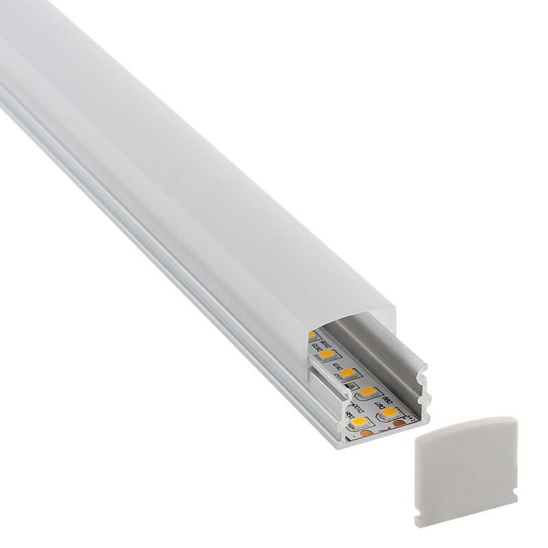 KIT - Perfil aluminio BOLL para tiras LED, 2 metros