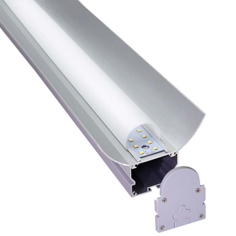 KIT - Perfil aluminio GREC 120º para tiras LED, 1 metro