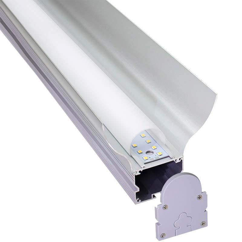 KIT - Perfil aluminio GREC 80º para tiras LED, 2 metros