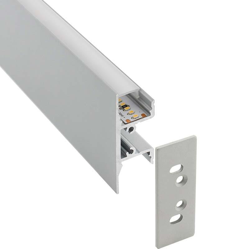 KIT - Perfil aluminio WALL HOS para tiras LED, 1 metro