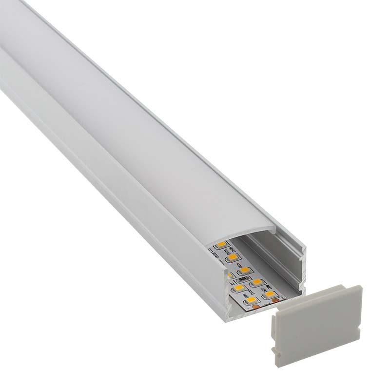 KIT - Perfil aluminio FAT para tiras LED, 1 metro
