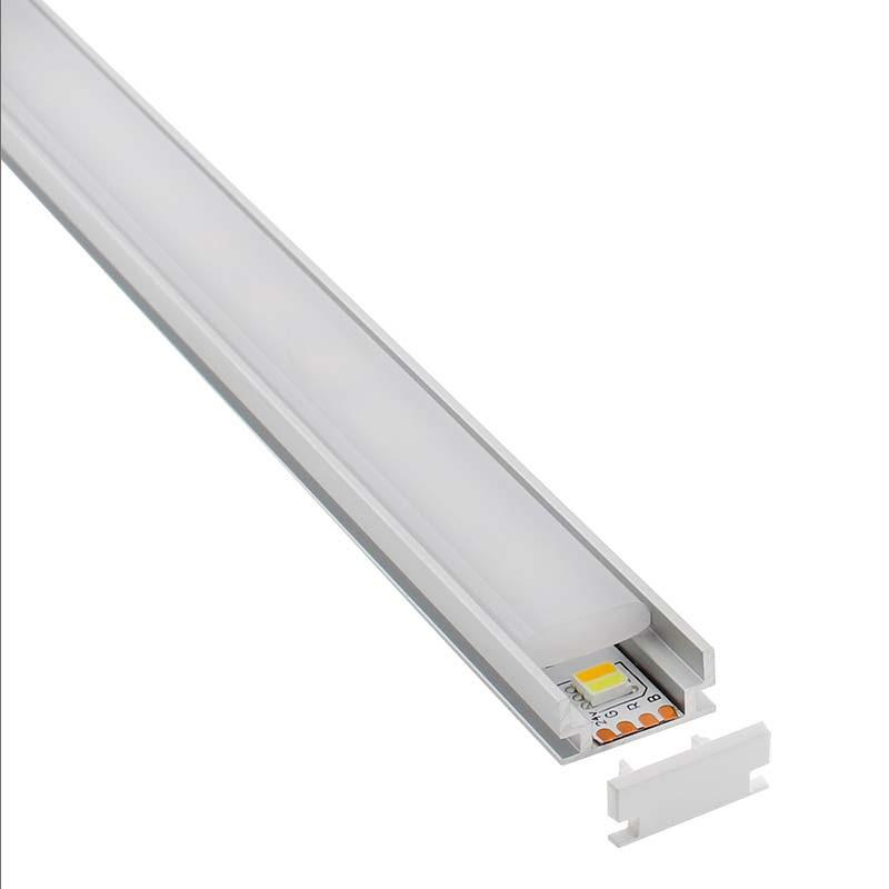KIT - Perfil aluminio HARDY para tiras LED, 2 metros