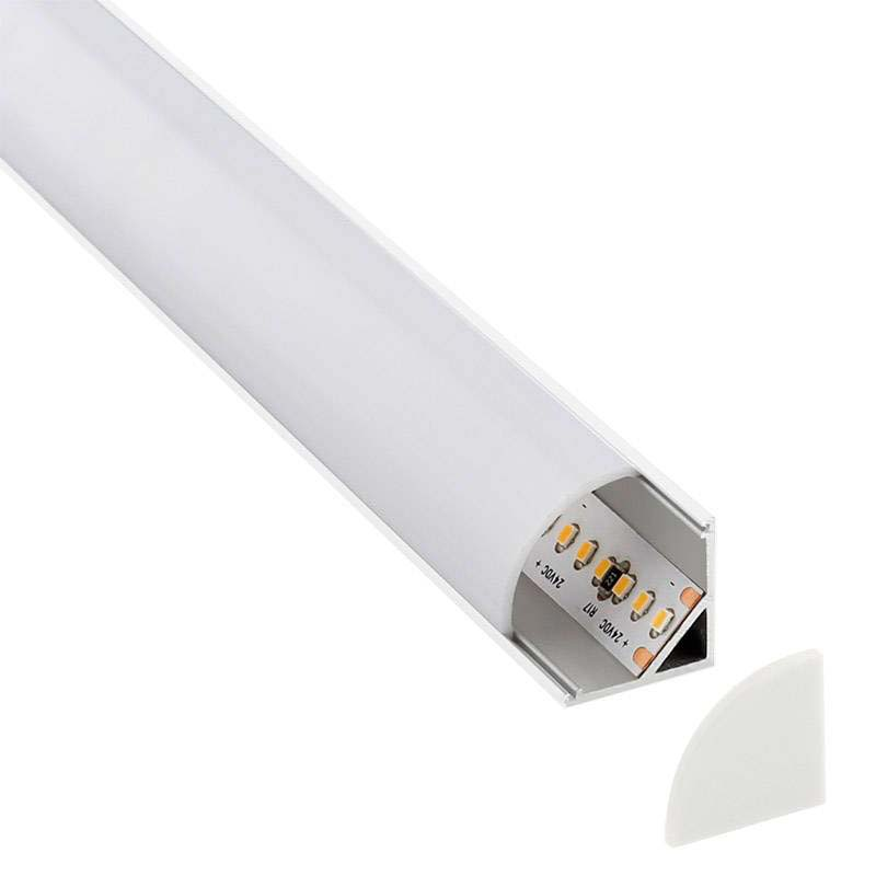 KIT - Perfil aluminio KORK-mini para tiras LED, 1 metro, blanco